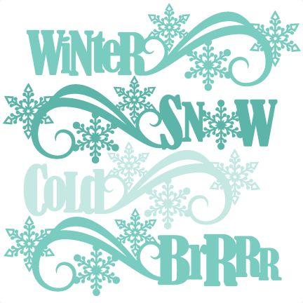 Winter Word Titles SVG scrapbook cut file cute clipart files for silhouette cricut pazzles free svgs free svg cuts cute cut files