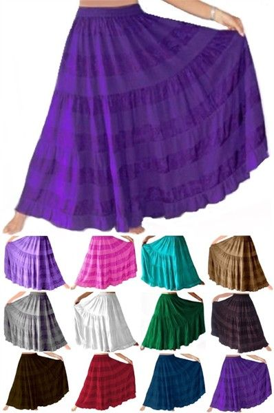 Tiered Boho Gypsy Skirt Plain Colors