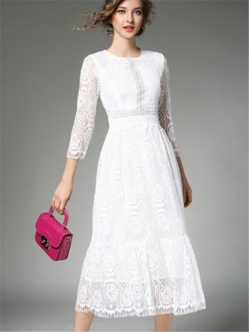 Buy Women's Lace Dress Solid Color Hollow Out Sweet Dress & Women's Dresses - at Jollychic