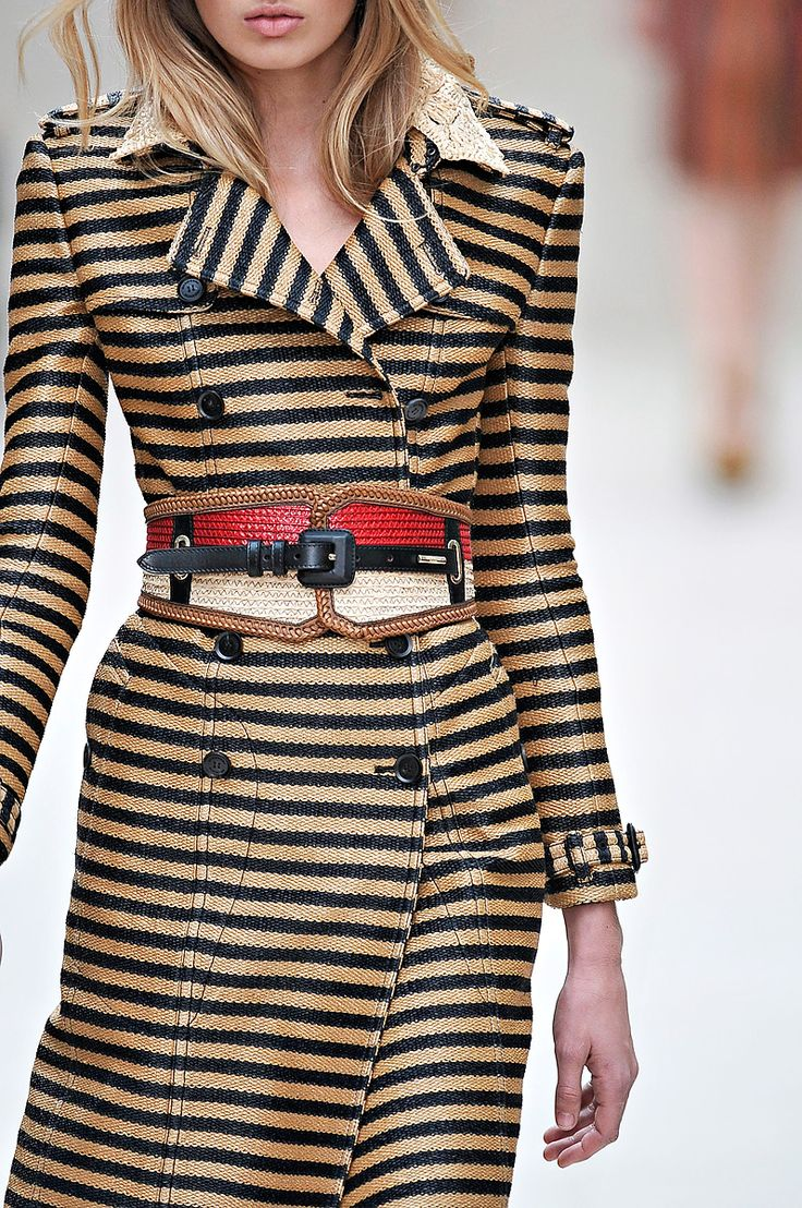 burberry prorsum - I love stripes and that belt... but I don't like the squareness of that trench