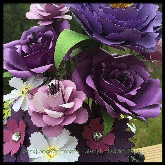 Purple Paper Flower Bouquet Arrangement Wedding Centerpiece or Gift