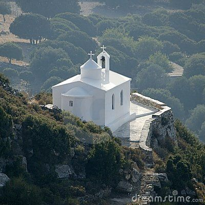 Village church in the center of Naxos island in Greece.