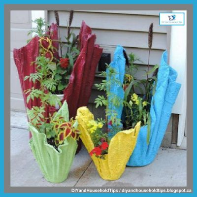 DIY And Household Tips: Turn Old Towels Into Draped Planters