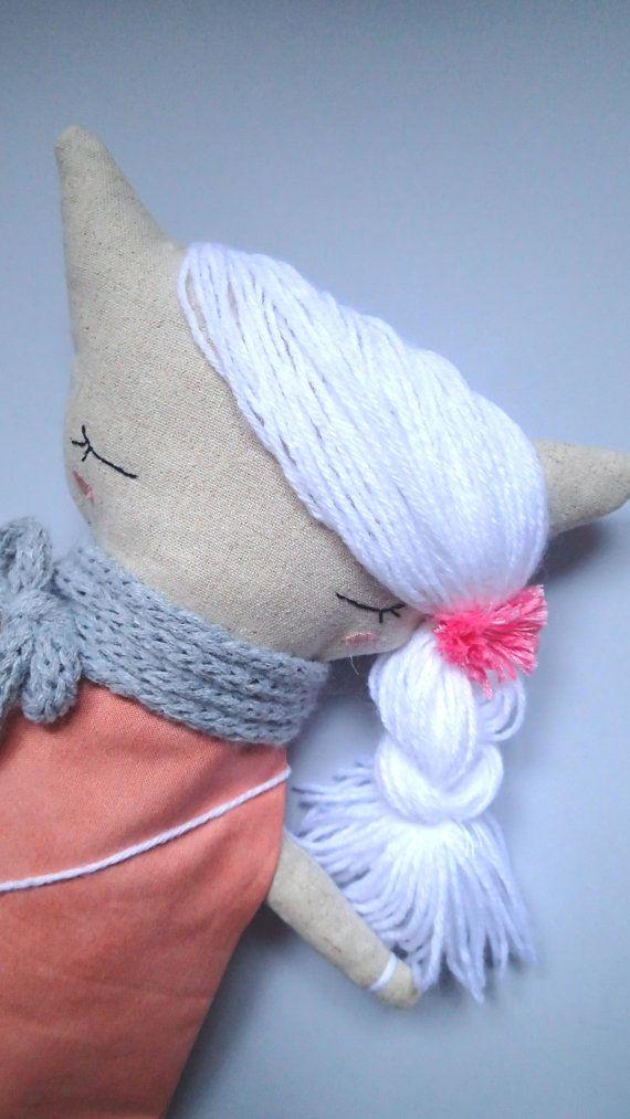 Laura The Kitten. Handmade linen doll. From Italy with Love by Marta Cielecka