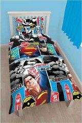 BATMAN ~ 'Batman vs Superman' Single Bed Reversible Quilt Set