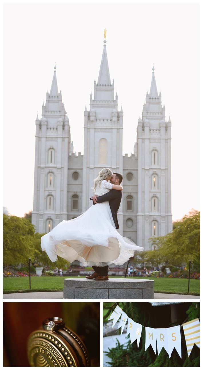 Salt Lake Temple summer wedding photos | LDS Bride Blog | LatterDayBride | Gateway Bridal & Prom | Worldwide Shipping | Fairfield gown | modest lace wedding dress | Salt Lake Temple wedding | Rose River Receptions | Idaho bride | Blackfoot | Real Bride