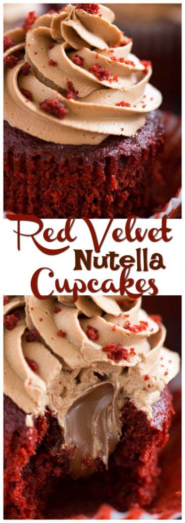 Nutella-filled red velvet cupcakes, topped with thick and fluffy Nutella buttercream! These Red Velvet Cupcakes with Nutella Buttercream are guaranteed to be your new favorite
