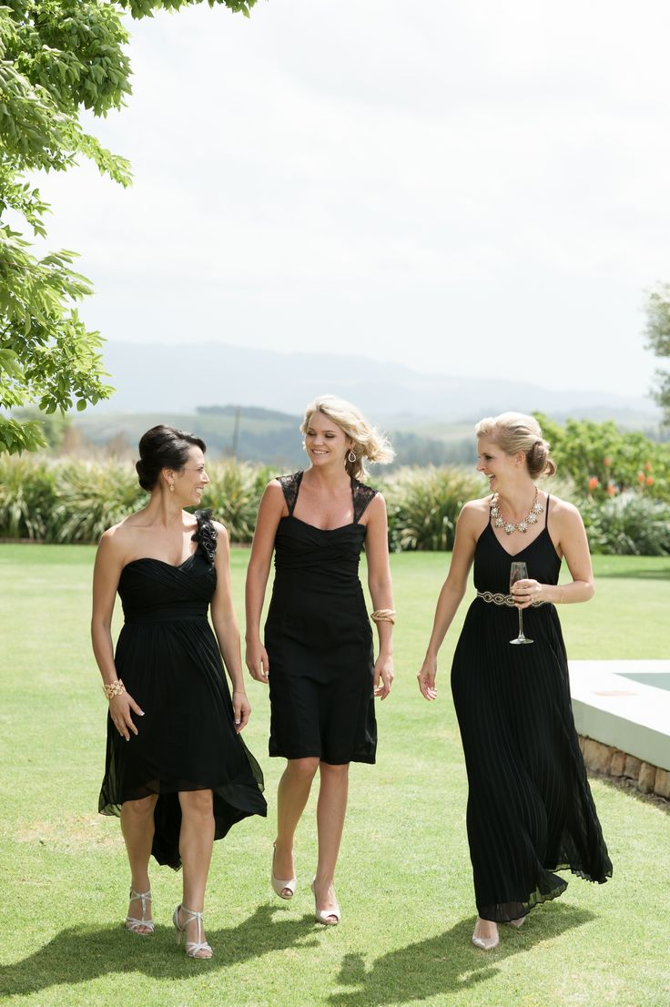 Black bridesmaid dresses. Modern wedding. Black tie wedding. Image by Ryan Graham.