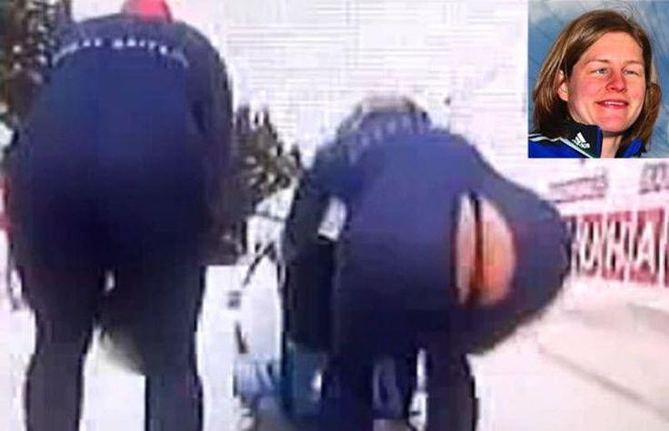 Прямо перед разгоном, у Джиллиан Кук по шву лопнул костюм, практически полностью обнажив зад спортсменки.