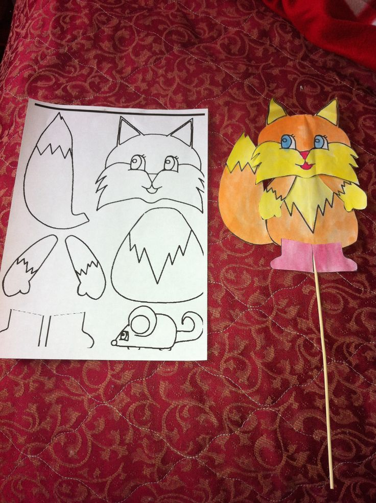 Easy Fall Autumn Kids Craft Mr Fox Stick Puppet And Template Colour Or Paint The