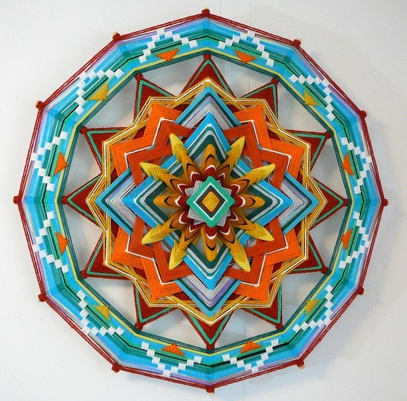 Emerald Light a 24 inch 12sided Ojo de Dios by jayfroggy on Etsy