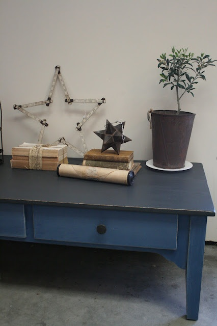 Reloved Rubbish: Coffee Table (Graphite top and Napoleonic Blue with a  Paris Gray wash on bottom)