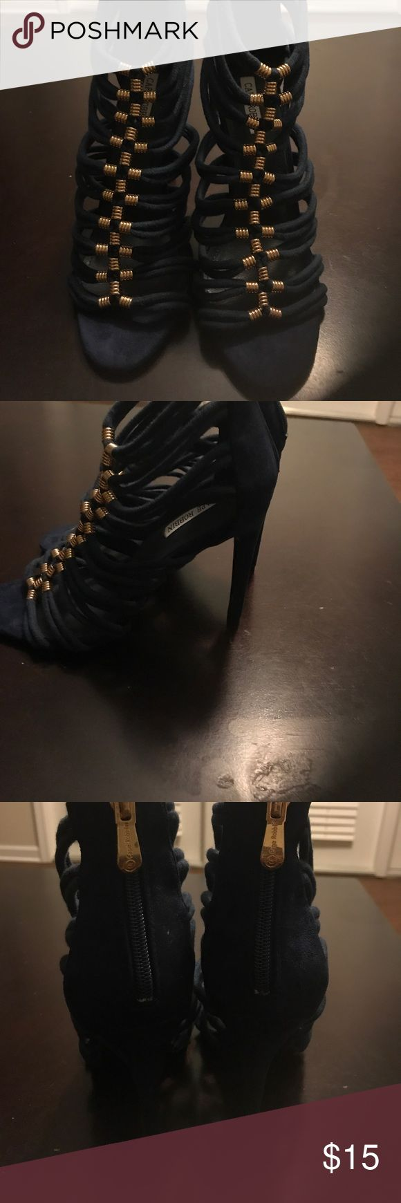 Blue strappy heel with gold detail Blue strappy heel with gold detail.  Never worn Shoes Heels