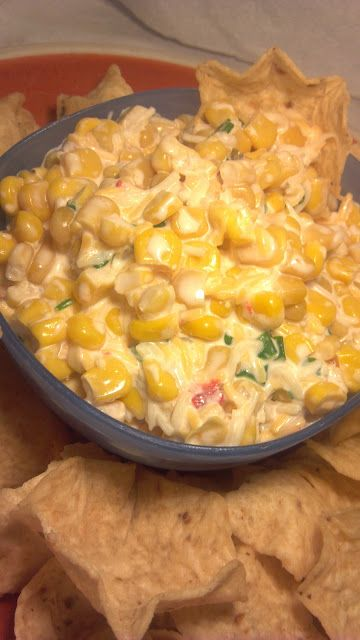 Mexican Corn Dip  I have made this for over 20 years and it is still a party favorite.  If there is any left after your get together....this is wonderful layered with other vegetables (broccoli, sliced potatoes, etc) and baked in the oven for a dip that keeps on giving!!!  - Karen Chapman