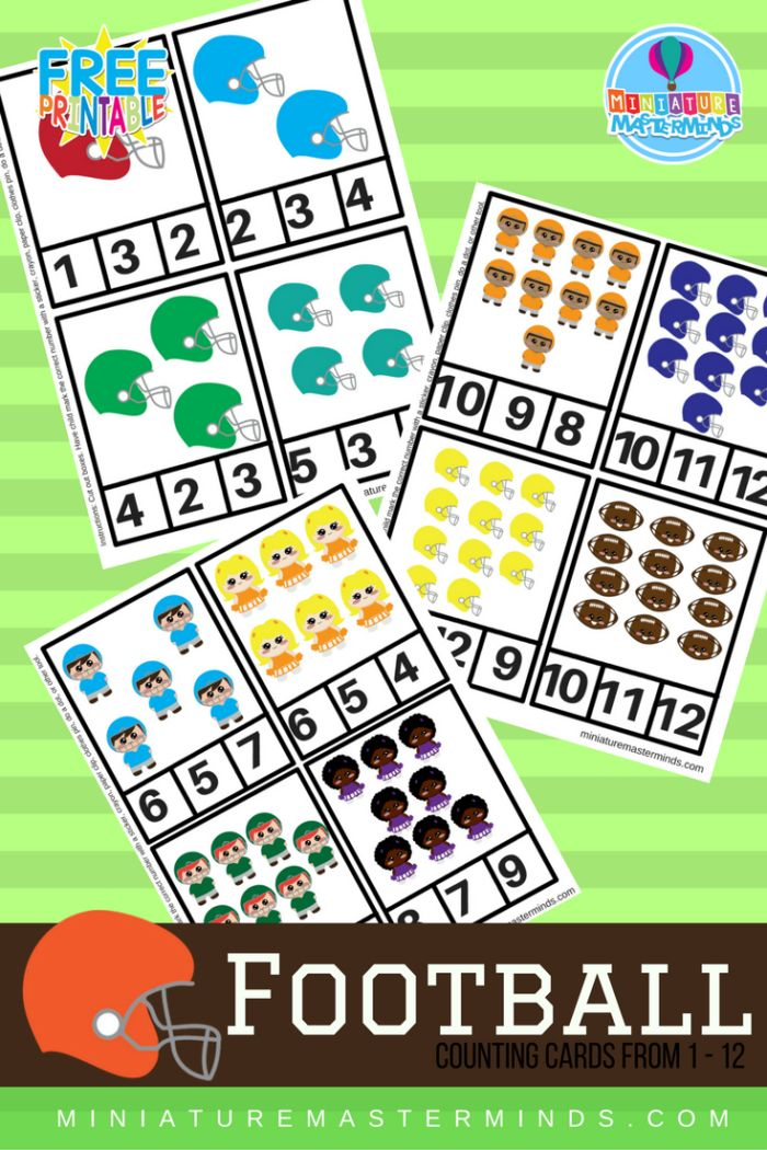 Share this:Printable Preschool FootballClip Counting Cards 1-12 12 Football themed Clip Counting Cards for Preschoolers! Somewhere in the middle oftrying to think of something witty to say and listening to the kids watch the same Music.ly video for the 900 time, I think my brain broke. Therefore instead of trying to be clever in the …