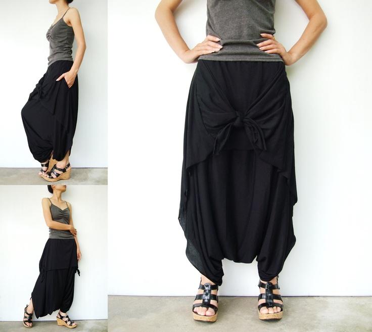 NO.86 Black Cotton Jersey Cool Unique Asymmetric Casual Loose Novelty Harem Pants Trendy Unusual Trousers, via Etsy.