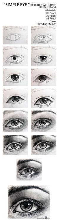 Dazel Todd Sketch of eye tutorial, drawing tips. | Kittys DIY