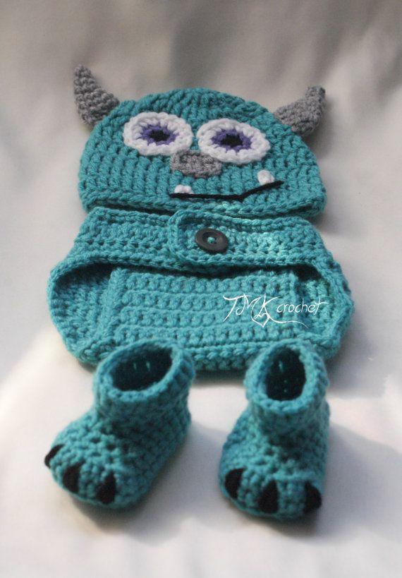 Crochet Monster Hat and Diaper Cover Set PATTERN. by TMKCrochet