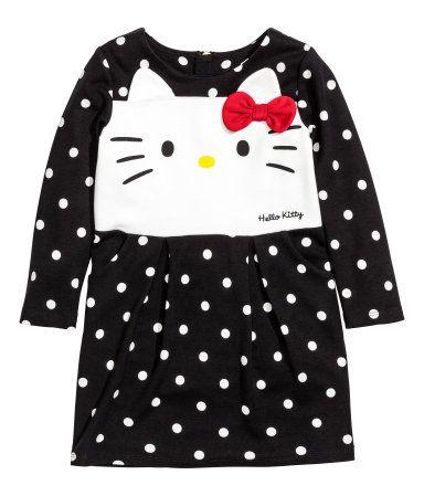 Tricot jurk   Zwart/Hello Kitty   Kinderen   H&M NL