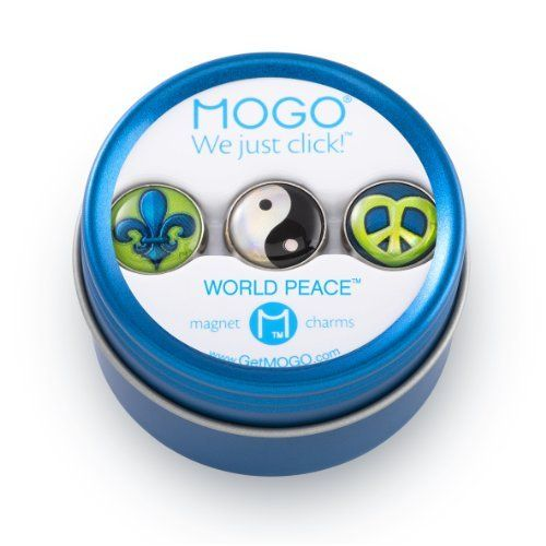 Mogo Tin Collection World Peace by MOGO Design, Inc. $12.10. From the Manufacturer                Mogo Charms, we just click. With over 400 magnetic Charms, including bling, alphabet and themed gift sets, there's a super strong Mogo Charm for every mood. Mogo Charm Bracelets (sold separately) hold up to 8 Mogo Charms. Themed gift set, 3 Charms in a magnetic, reusable gift tin, not a toy. Ages 8+. Unique themed charms. Change your theme to match your mood. Super st...