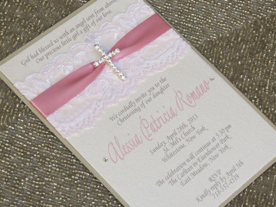 CHRISTINA - Lace Baptism or Christening Invitation with Cross - Pink and Ivory - Customizable