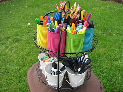school supply caddy: Art/Writing center idea - can do a can each other to sort out the markers or crayons.