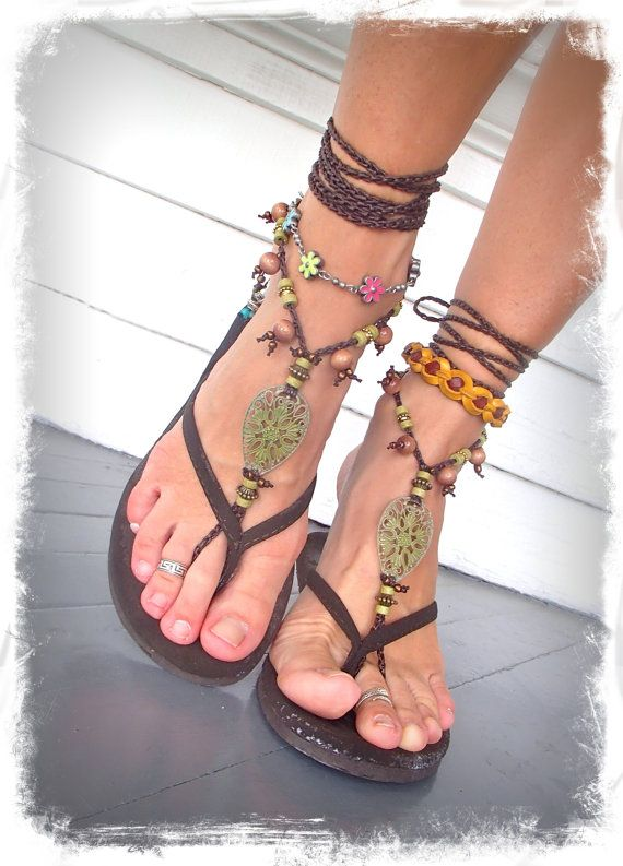 Woodland FAIRY BAREFOOT sandals Pea Green Tribal ANKLETS by GPyoga