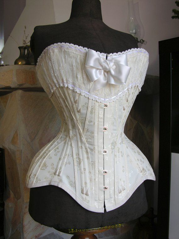 42a682ee42c SAMPLE - Edwardian straight-front corset in cream Rosebud Coutil and lace -  20   in 2019