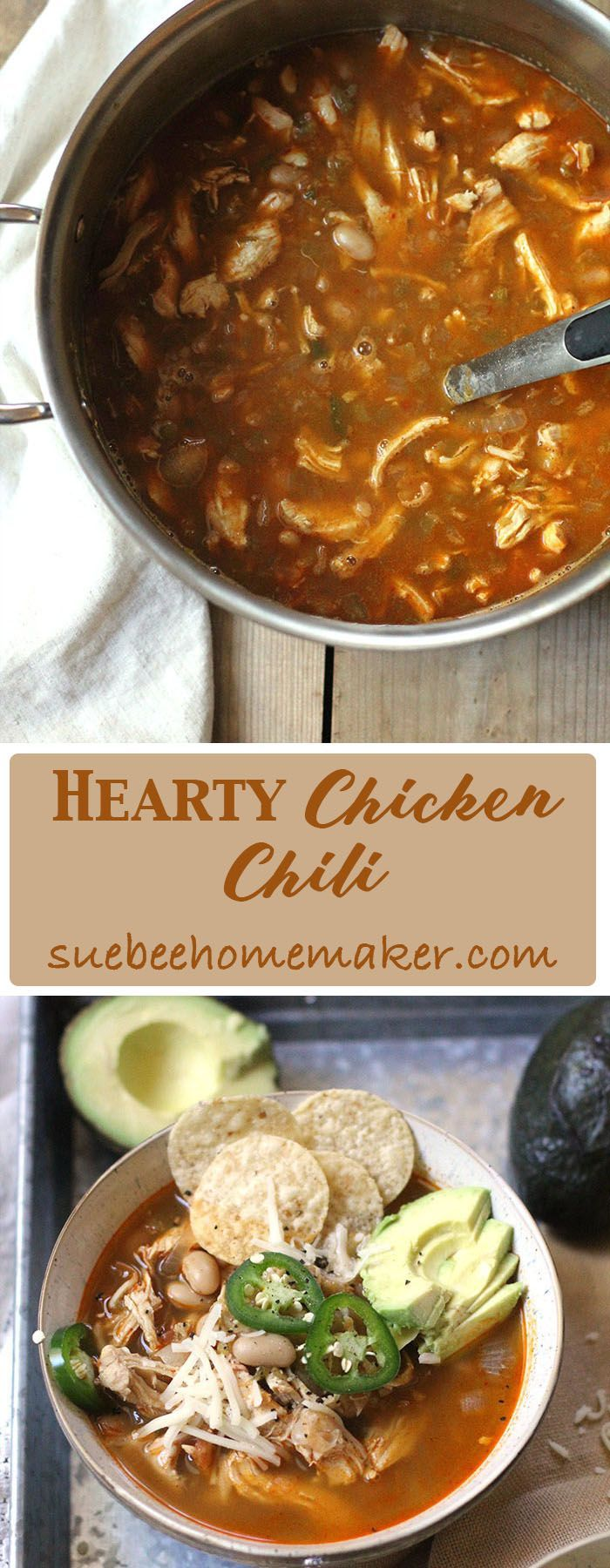 Hearty Chicken Chili will keep you warm and full on chilly days. Full of protein with plenty of chicken and white beans, this chili also has some spice. Tailor it to your taste buds! | suebeehomemaker.com