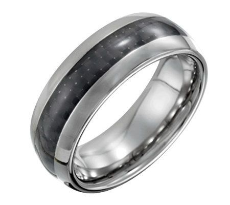 Steel By Design Men S 8mm Polished Ring W Carbon Fiber Qvc Com Local Jewelry Wedding Ring Sizes Carbon Fiber Wedding Ring
