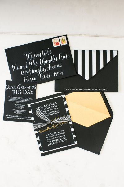 Gold, black and white invitations: http://www.stylemepretty.com/2014/10/20/blogger-bride-devon-rachel-wedding/ | Photography: Jana Williams - http://jana-williams.com/