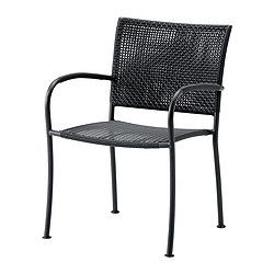 IKEA - LÄCKÖ, Armchair, outdoor, Hand-woven plastic rattan looks like natural rattan but is more durable for outdoor use.Can be stacked, which helps you save space.The materials in this outdoor furniture require no maintenance.