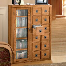 Mission Media Cabinet Up to 400 CDs and 184 DVDs organized in a slim cabinet that won't crowd your room!