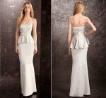 front & back images of the bridesmaid dress. White by Vera Wang Peplum Bridesmaid Dress