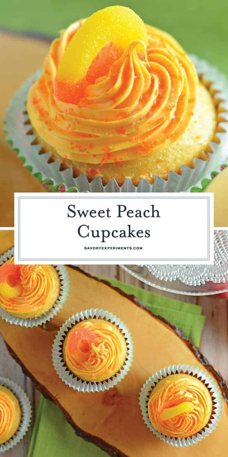 This Peach Cupcakes Recipe embodies all that is summer. Sweet and juicy peaches … This Peach Cupcakes Recipe embodies all that is summer. Sweet and juicy peaches make these light cupcakes with peach cream cheese frosting just perfect! Cupcake Decoration, Homemade Cupcake Recipes, Summer Cupcake Recipes, Mini Cake Recipes, Unique Cupcake Recipes, Cute Cupcake Ideas, Wedding Cupcake Recipes, Baking Recipes Cupcakes, Strawberry Cupcake Recipes