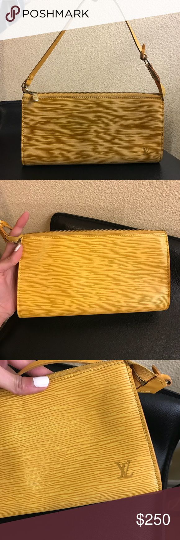Louis Vuitton Purse 💯 % Authentic Mustard yellow Louis Vuitton Purse! Worn a few times! Has scratches on the strap of the purse and a tiny mark on the zipper (which I believe can be cleaned with purse cleaner). Selling at a low price because I am trying to get rid of it ASAP! Louis Vuitton Bags Mini Bags