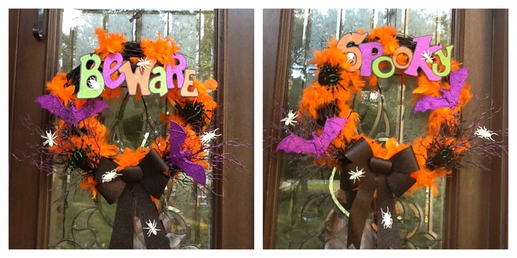 Halloween wreaths I made for 15 dollars (total) with stuff from Dollar Tree and the 99 Cent store.