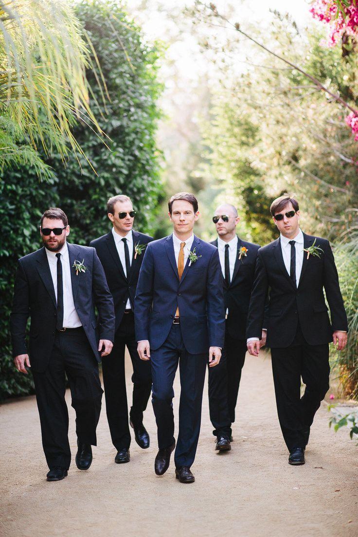 Navy groom suit, black groomsmen suits