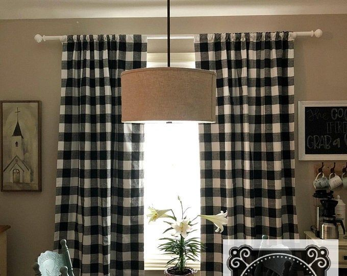 Dark Gray And White Buffalo Plaid Check Curtains Gunmetal Rod Pocket 63 72 84 90 96 108 Or 120 Long By 24 Or 50 Wide Custom Color Choice Buffalo Check Curtains Check Curtains Plaid Curtains