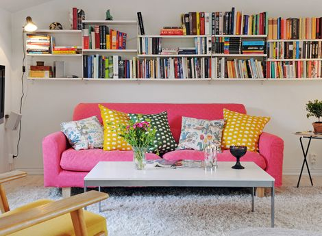 adorable couch + bookshelves!: Bookshelves, Living Rooms, Idea, Swedish Interiors, Pink Couch, Pink Sofas, Bright Color, Book Shelves, Pinkcouch
