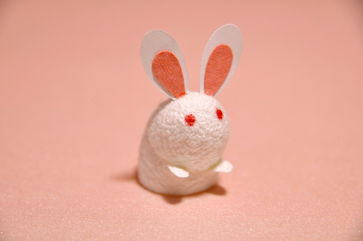 A bunny I created out of a silk cocoon and paper.