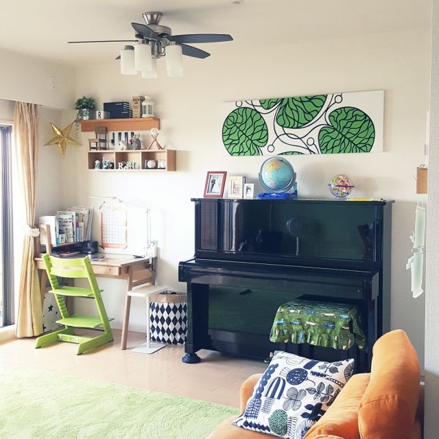 cherryさんの、KEYUCA,学習デスク,無印良品,無印良品 壁に付けられる家具,北欧,北欧インテリアに憧れる,こどもと暮らす,リビング,のお部屋写真