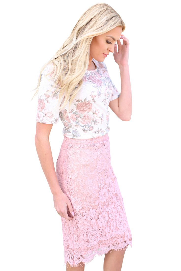 """These modest floral tops are SO pretty & versatile! Mix & match with our modest skirts, or pair them with your favorite shorts or jeans!   Modest Scoop Neck Top in """"Burnout"""" Blush & Sage Floral, $29.99"""