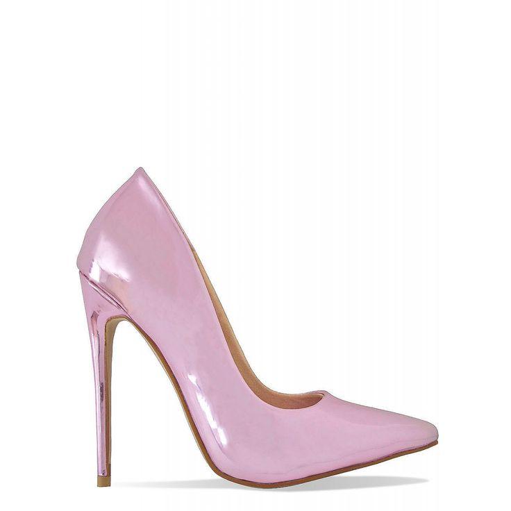 Simone Pink Metallic Stiletto Court Shoes : Simmi Shoes