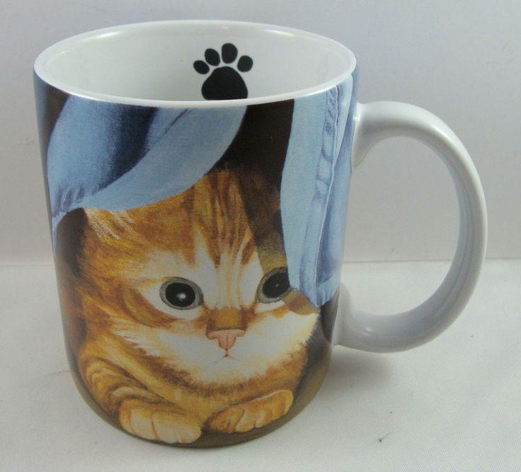 clara coffee tea cup mug lang kitty cat kitten hiding peeking lowell herrero paw ebay. Black Bedroom Furniture Sets. Home Design Ideas