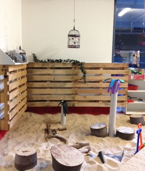"""Oac Sussex St inner city sandpit sanctuary enhanced with recycled pallets - image shared by Only About Children (@OacChildcare on Twitter) ("""",)"""