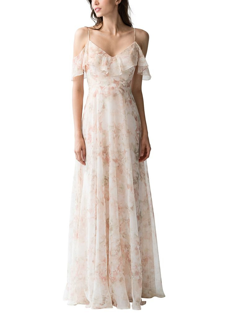 DescriptionJenny Yoo Mila PrintFull length floral printed bridesmaid dressV neckline with delicate spaghetti straps and ruffle overlay falls off the shoulderV backShown here in Watercolor BlushLuxe Chiffon