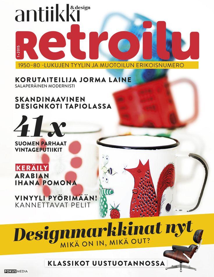 Retroilu-erikoisnumero / Retroilu Special Issue of Antiikki & Design covers design of 1950', 1960' and 1970'.
