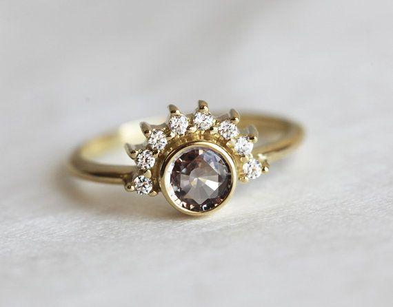 Sapphire Diamond Ring Rose Engagement Ring Gold by MinimalVS