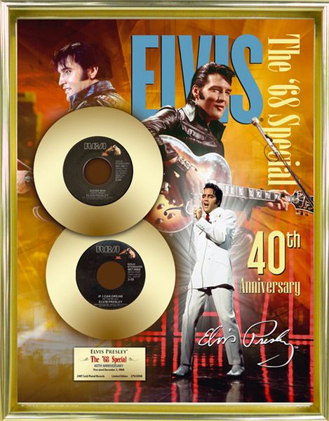 "Elvis Presley ""68 Special, 40th Anniv"" Framed 16""x20"" 24K Gold 45s- LE of 2008"
